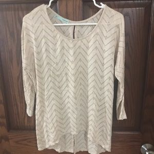 Maurices light pink & gold chevron sweater